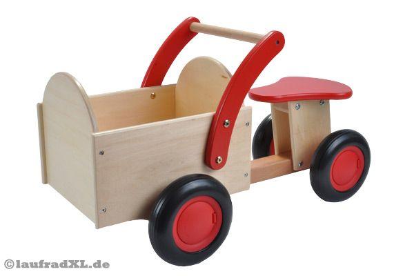 New classic toys rutschauto mit transportkiste rot holz